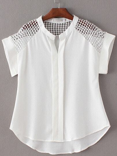 White Roll Cuff V Neck High Low Hollow Blouse
