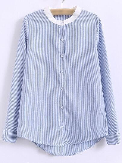 Blue Round Neck Buttons Front Long Sleeve Striped Blouse