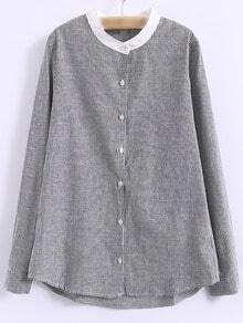 Black Round Neck Buttons Front Long Sleeve Striped Blouse