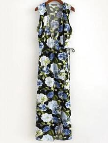 Multicolor Flower Print Cross V Neck Wrap Maxi Dress