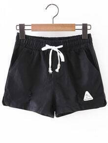 Black Pockets Ripped Hole Elastic Tie-Waist Shorts
