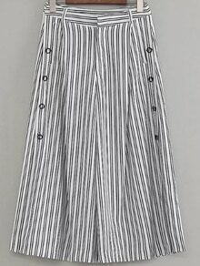 Black White Striped Buttons Side Decoration Wide Leg Pants