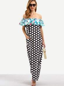 Flounce Layered Neckline Polka Dot Maxi Dress