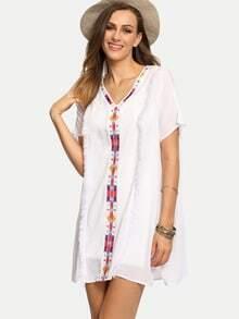 White V Neck Embroidered Tassel Shift Dress