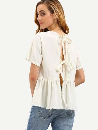 Beige Short Sleeve Tie Back Pleated Blouse