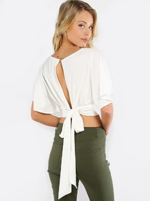 Beige V Neck Tie Back Crop Blouse
