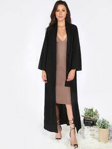 Black Callarless Long Sleeve Cardigan Long Outerwear