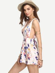Multicolor Sleeveless Flower Print Deep V Neck Jumpsuit