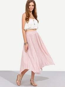 Pink Asymmetrical Boho Skirt