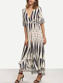 Multicolor Print Half Sleeve Split Maxi Dress