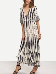 Multicolor Print Half Sleeve Split Maxi Dress