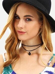 Layered Water-drop Gemstone Pendant Choker Necklace