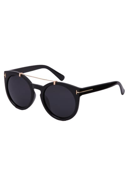 Black Lenses Top Bar Oversized Round Sunglasses