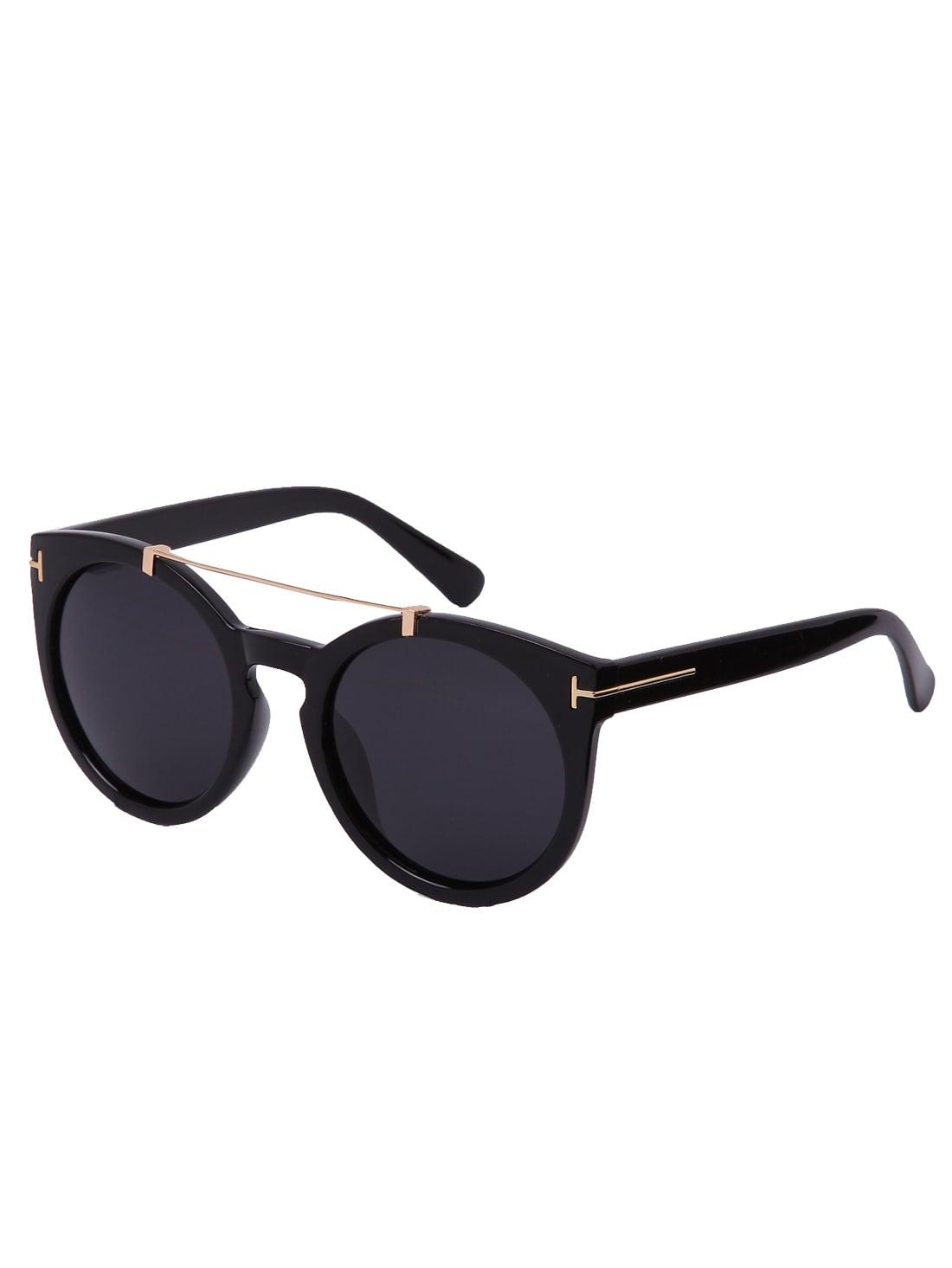 Фото Black Lenses Top Bar Oversized Round Sunglasses. Купить с доставкой