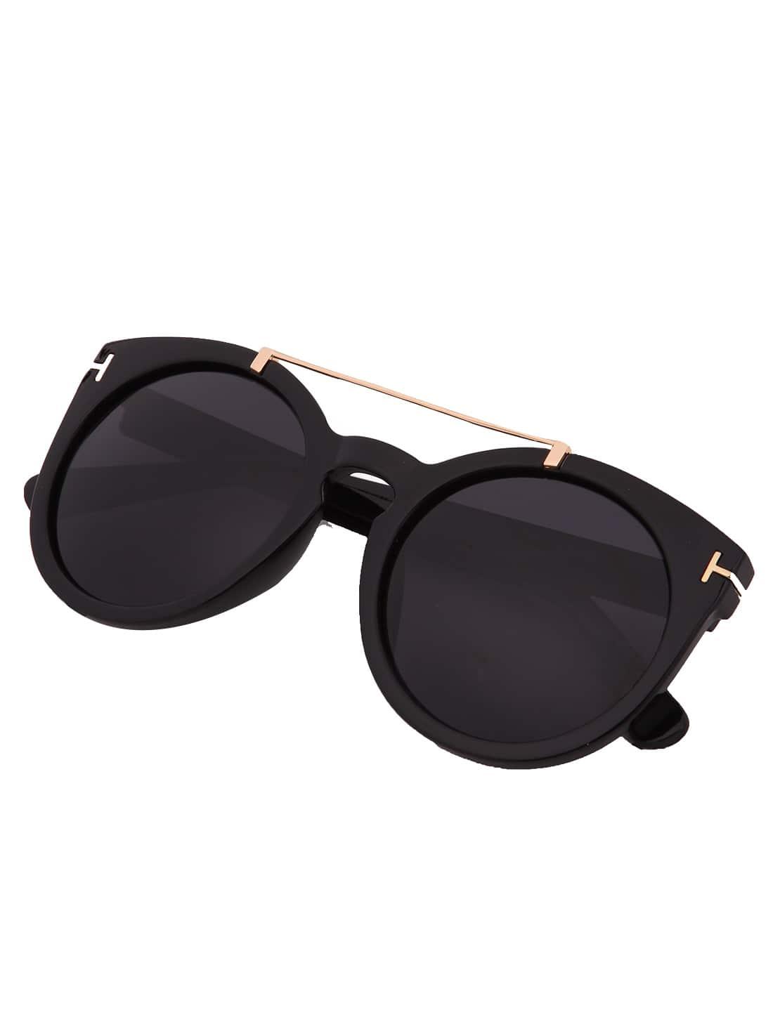 Black Lenses Top Bar Oversized Round Sunglasses -SheIn ...