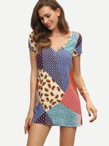 Multicolor Print V Neck Short Sleeve Shift Dress
