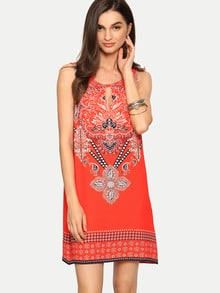 Red Sleeveless Print Hollow Shift Dress