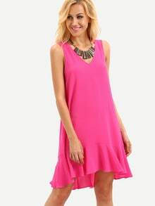 Hot Pink Sleeveless Ruffle Shift Dress