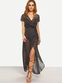 Black Short Sleeve Polka Dot Split Dress
