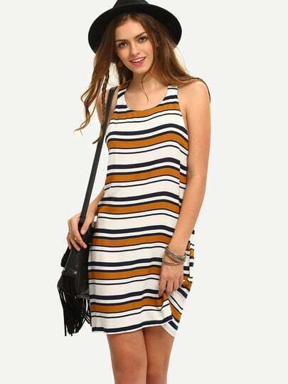 Multicolor Sleeveless Striped Shift Dress