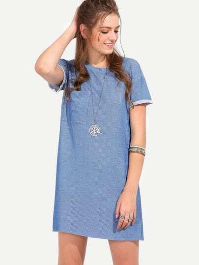 Blue Short Sleeve Shift Dress