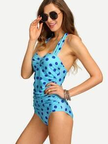 Ruched Polka Dot Print One-Piece Swimwear - Sky Blue