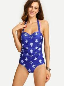 Ruched Anchor Print One-Piece Swimwear - Blue