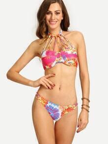 Multicolor Strappy Halter Neck Bikini Set