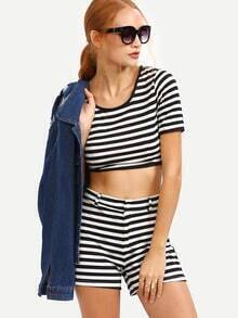 Black White Striped Crop Top With Shorts
