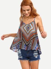 Multicolor Tribal Print Swing Chiffon Cami Top
