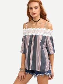 Lace Cold Shoulder Multicolor Vertical Striped Top