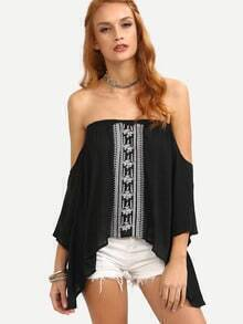 Off-The-Shoulder Embroidered Asymmetric Top - Black