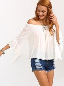 Off-The-Shoulder Bell Sleeve Top - White
