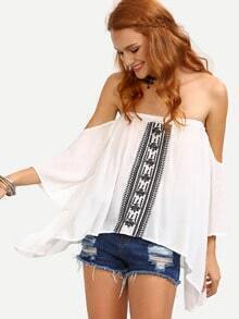 Off-The-Shoulder Embroidered Asymmetric Top - White