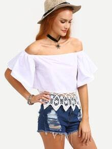 Lace Trimmed Off-The-Shoulder Bell Sleeve Top - White