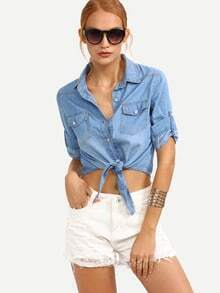 Knot-Front Rolled Sleeve Blue Denim Blouse