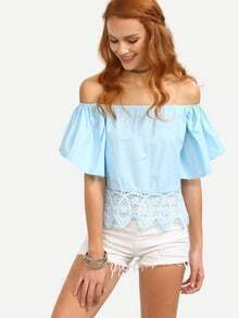 Lace Trimmed Off-The-Shoulder Bell Sleeve Top - Baby Blue