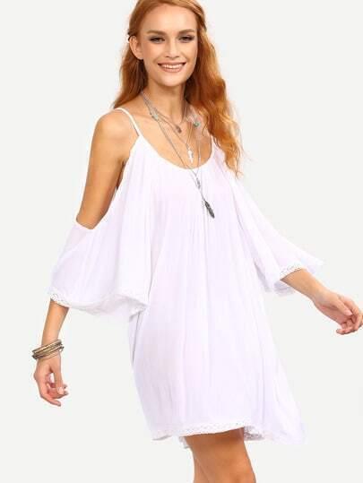 Vestido ribete de encaje hombor frío suelto -blanco