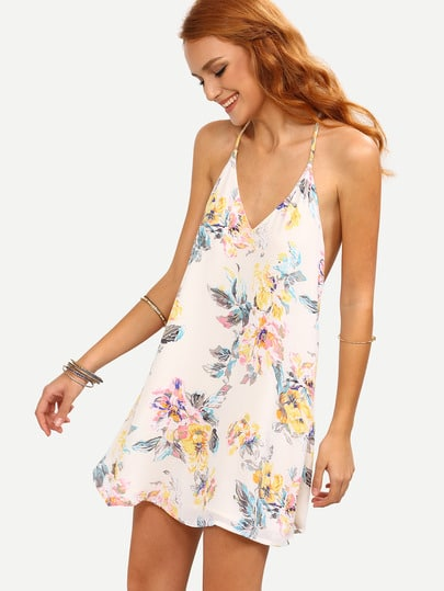 Flower Print Strappy Swing Cami Dress
