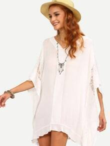 V-Neck Lace Insert Poncho Dress - White