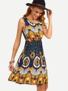 Multicolor Tribal Print Elastic Waist Sleeveless Dress