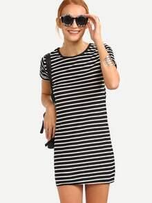 Black White Striped Shift Dress