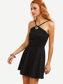 Metal Eyelet Strappy Skater Dress - Black