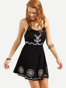 High Waist Embroidered Cami Dress - Black