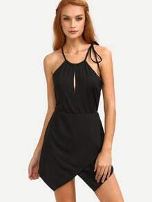 Keyhole Drawstring Neck Asymmetric Wrap Romper - Black