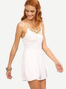 Lattice Neck Lace Overlay Cami Romper - White