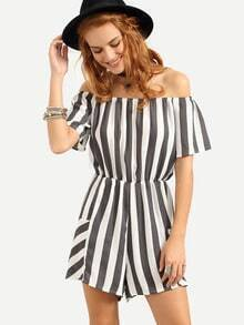 Grey Vertical Striped Off-The-Shoulder Romper