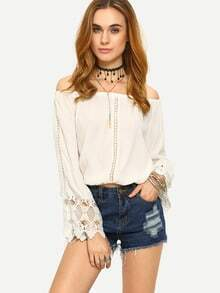 Lace Insert Off-The-Shoulder Blouse - White