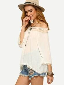 Lace Trimmed Off-The-Shoulder Blouse - White