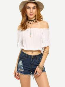 Ruffled Off-The-Shoulder Crop Top - White
